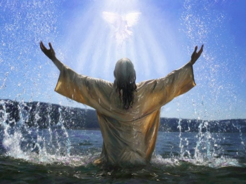 After Jesus was baptized, he came up from the water and behold, the heavens were opened [for him], and he saw the Spirit
